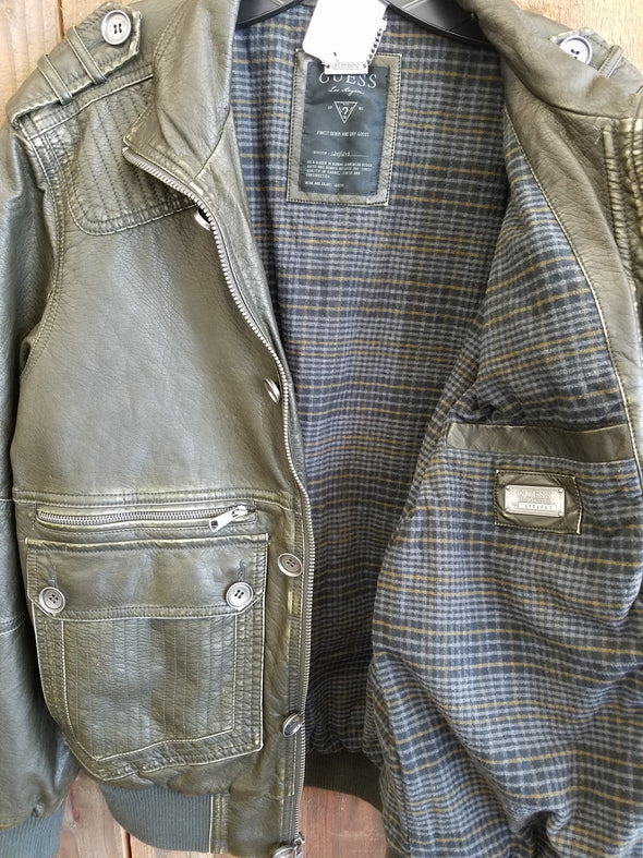 Vintage Guess - Faux Leather Bomber Jacket