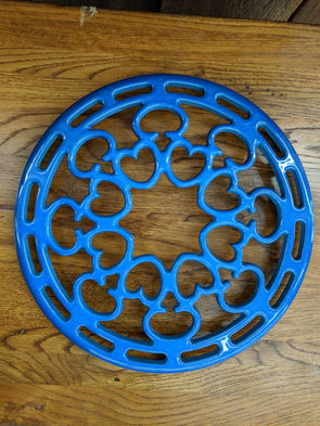 "8.5"" Blue Enamelled Cast Iron Trivet"
