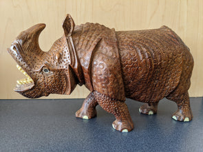 Exquisite Hand Carved Wooden Rhinoceros