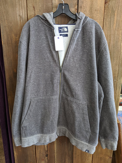 The North Face : Grey & White Zippered Hoodie : XXL