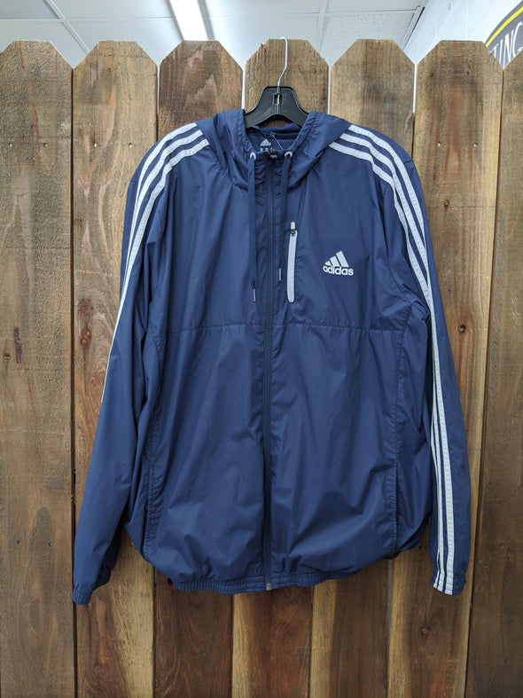 Adidas Blue & White Windbreaker With Hood - Size XL