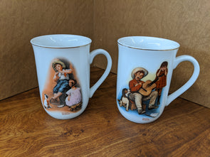 Vintage Norman Rockwell Coffee Mugs -1981 Set of 2