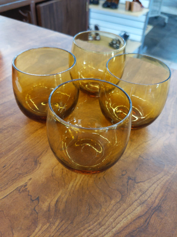 Vintage Amber Glass Tumblers Set of 4