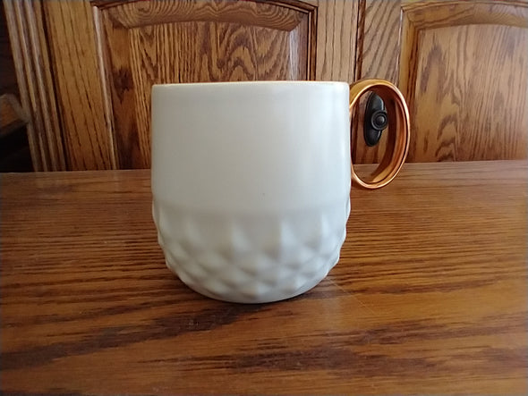 Starbucks 2013 White Jewel Diamond Embossed Coffee Mug with Bronze Handle