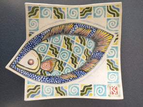 Stovall Design - Tableware Ceramic Fish Pattern Dish Hand Signed