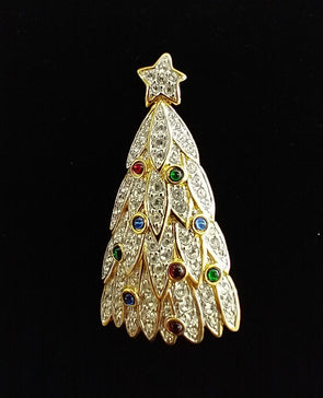Swarovski Crystal Christmas Tree Pin : Brooch With Multi-Colors Crystals & Gold Tone Enamel