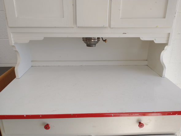 50's Vintage Marsh Hoosier Cabinet - Red on White