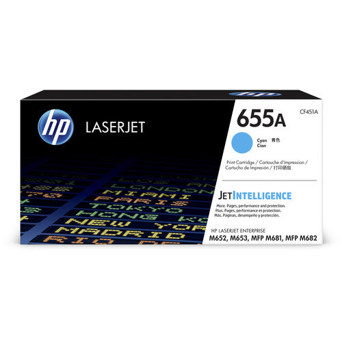 Genuine HP 655A Cyan LaserJet Toner Cartridge (CF451A)