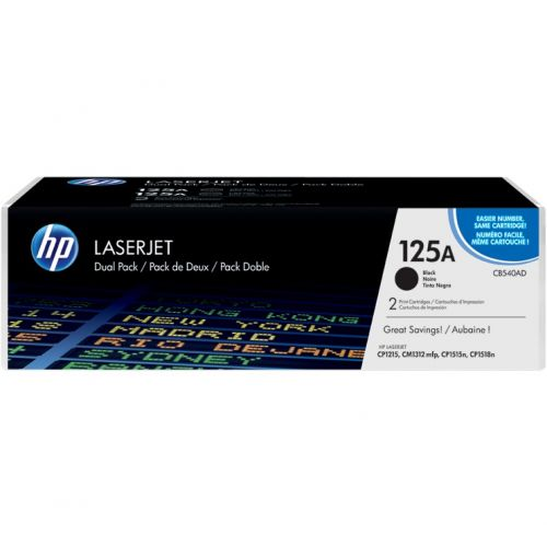 Genuine HP 125A Black Dual Pack LaserJet Toner Cartridges (CB540AD)