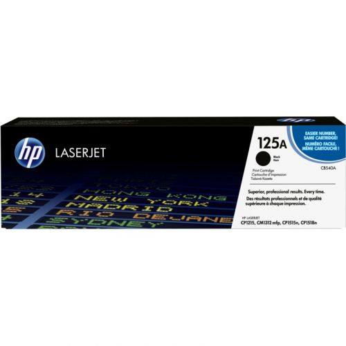 Genuine HP 125A Black LaserJet Toner Cartridge (CB540A)