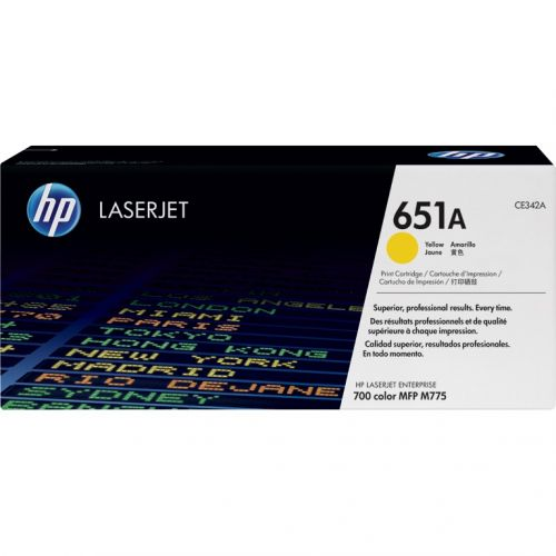 Genuine HP 651A Yellow LaserJet Toner Cartridge (CE342A)