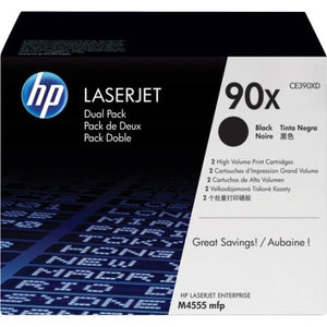 Genuine HP 90X Dual Pack High Yield Black LaserJet Toner Cartridges (CE390XD)