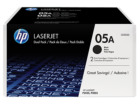 Genuine HP 05A Dual Pack Black LaserJet Toner Cartridges (CE505D)