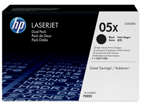 Genuine HP 05X Dual Pack High Yield Black LaserJet Toner Cartridge (CE505XD)
