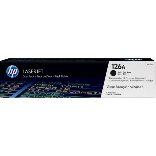 Genuine HP 126A Black Dual Pack LaserJet Toner Cartridges (CE310AD)