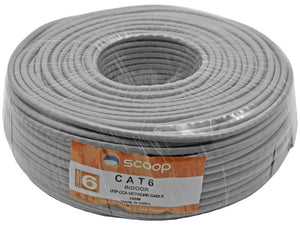 Scoop 100m Roll Cat6 CCA UTP Cable (UTP-6100C)
