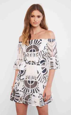 Geo Print Lace Mini Dress