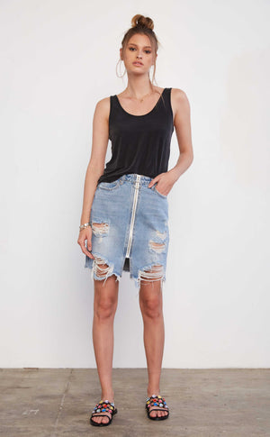 Zipper Front Denim Skirt