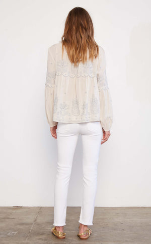 Embroidered Peasant top