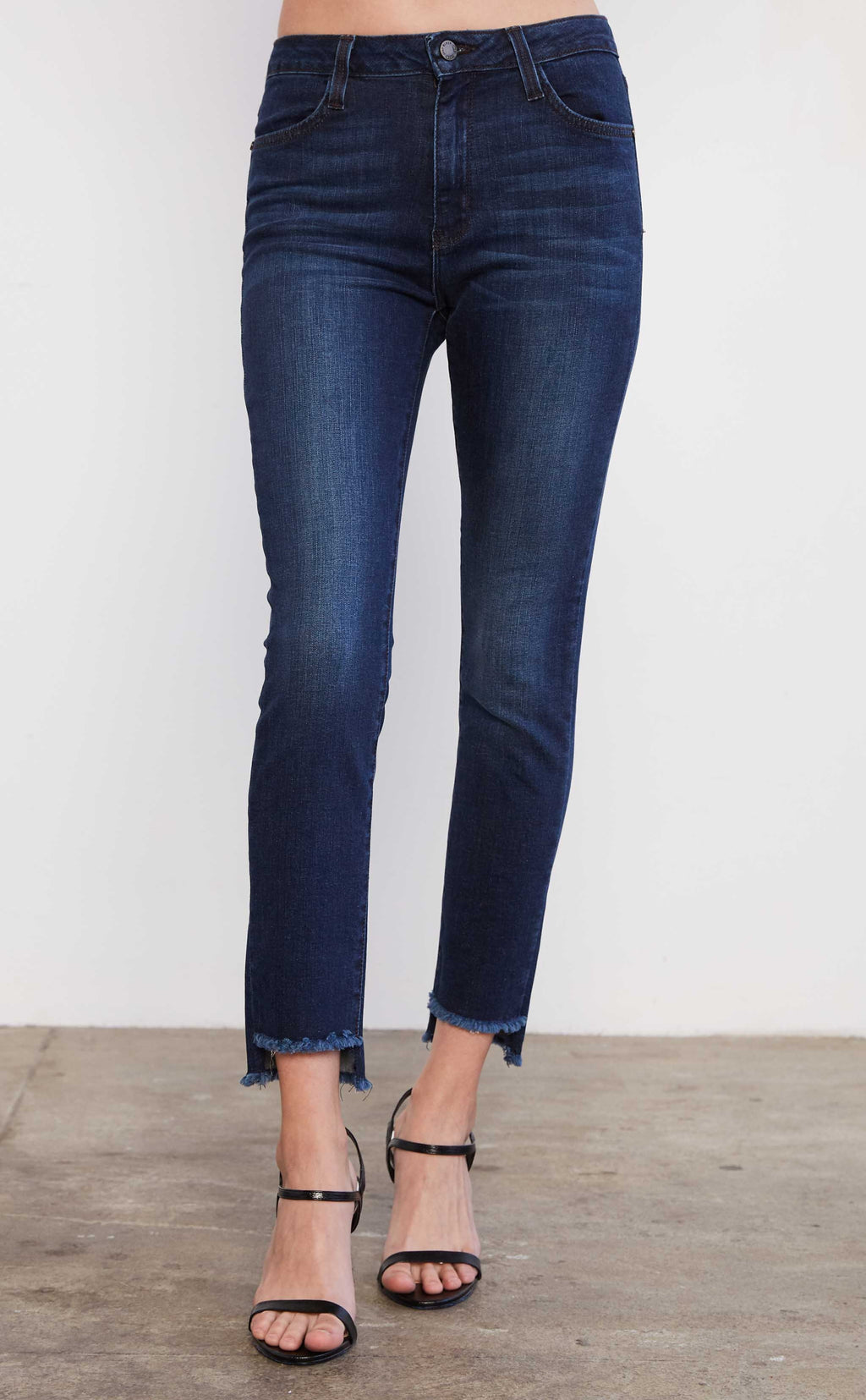High Rise Step Hem Denim