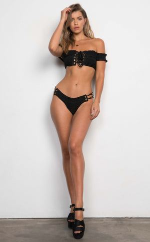 Smocked Lace Up Bikini
