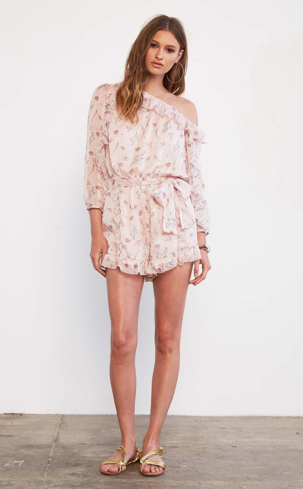 One Shoulder Floral Romper