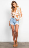 Peaches & Cream Floral Wrap Top