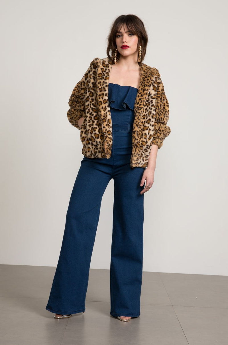 Gina Leopard Faux Fur Bomber