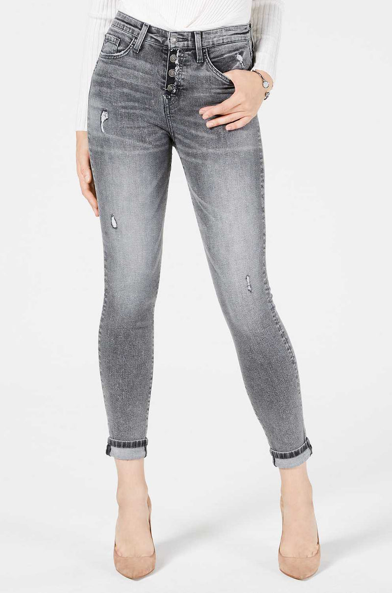 Button Front Rolled Skinny Jeans