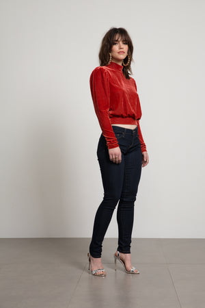 Stevie Velour Mock Neck Top