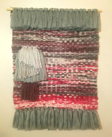 Gray and Amethyst Woven Wall Hanging