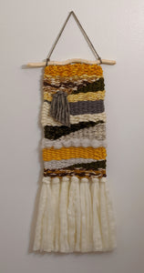 Gold and Gray Woven Wall Hanging