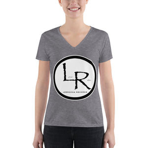 LR Records back print Women's Fashion Deep V-neck Tee