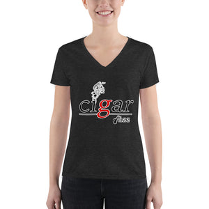 Cigar jazz Women's Fashion Deep V-neck Tee