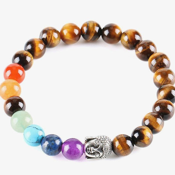 7-colour Tiger Eye Buddha Blessing Bracelet - The Living Naga