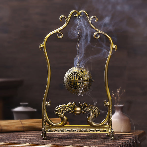 Golden Twin Dragon Ball Incense Burner - The Living Naga