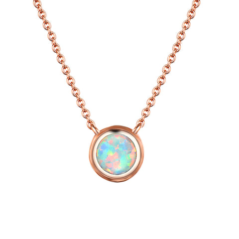 18K Gold Plated Fire Opal Pendant Necklace for Women Girls