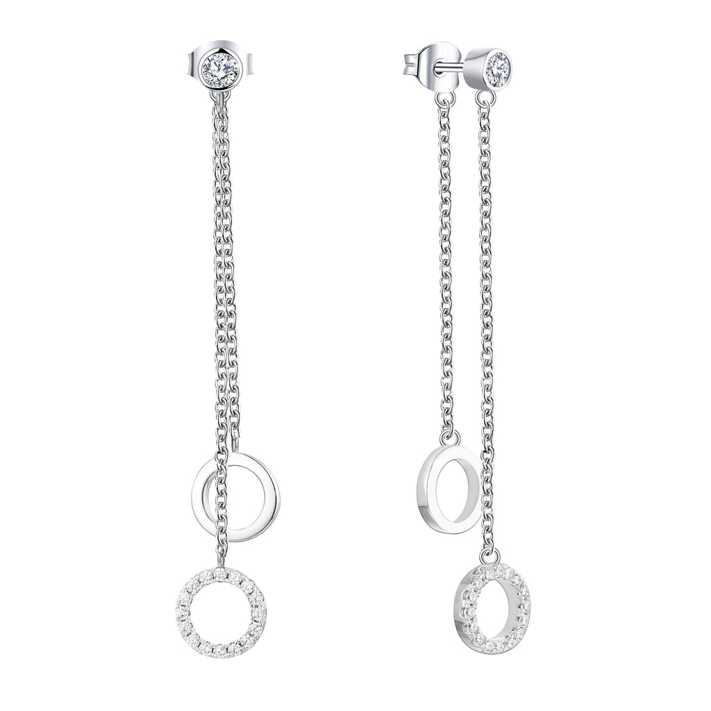 Farjary 925 Sterling Silver Double Circle Long Chain Drop Earrings With Cubic Zirconia