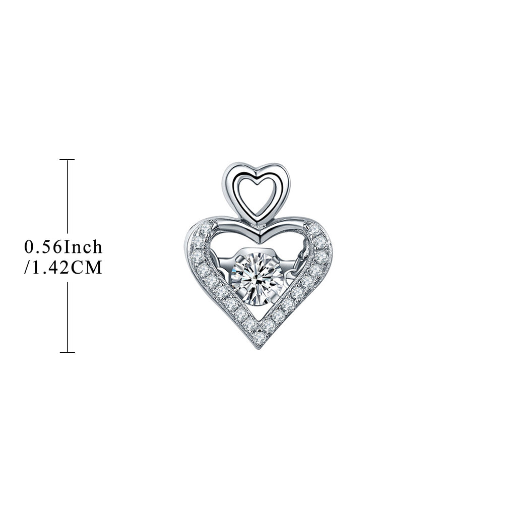 Dancing Silver Heart Stud Earrings