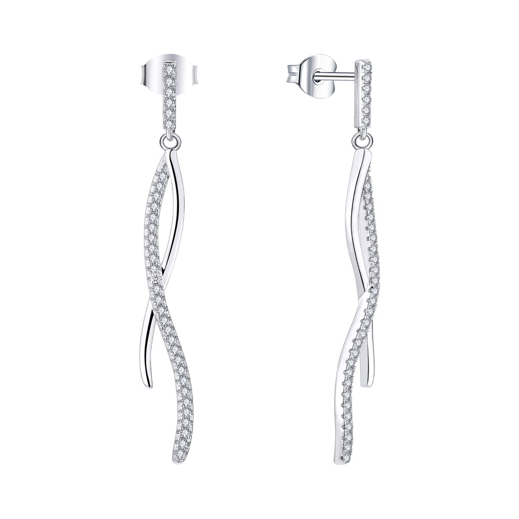 Farjary Solid 925 Silver Long Twisted Drop Earrings With Cubic Zirconia
