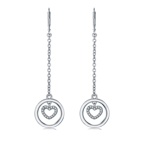 Farjary Fashion 925 Silver Heart And Circle Drop Earring With Cubic Zirconia