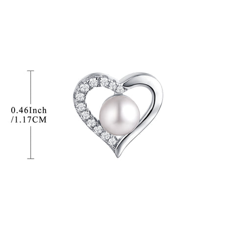 Sterling Silver Heart Shape Pearl Stud Earrings