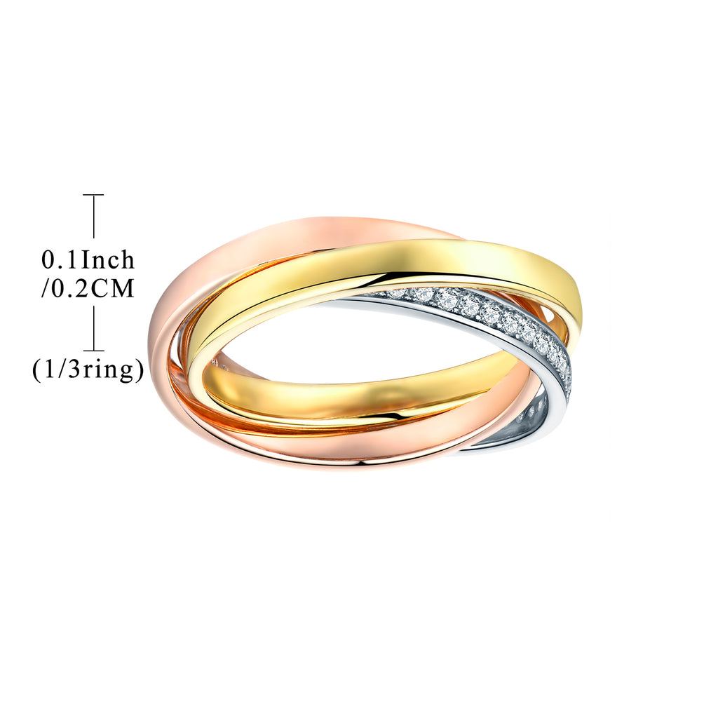 Sterling Silver 3 Colors Plated Bridal Set Rings