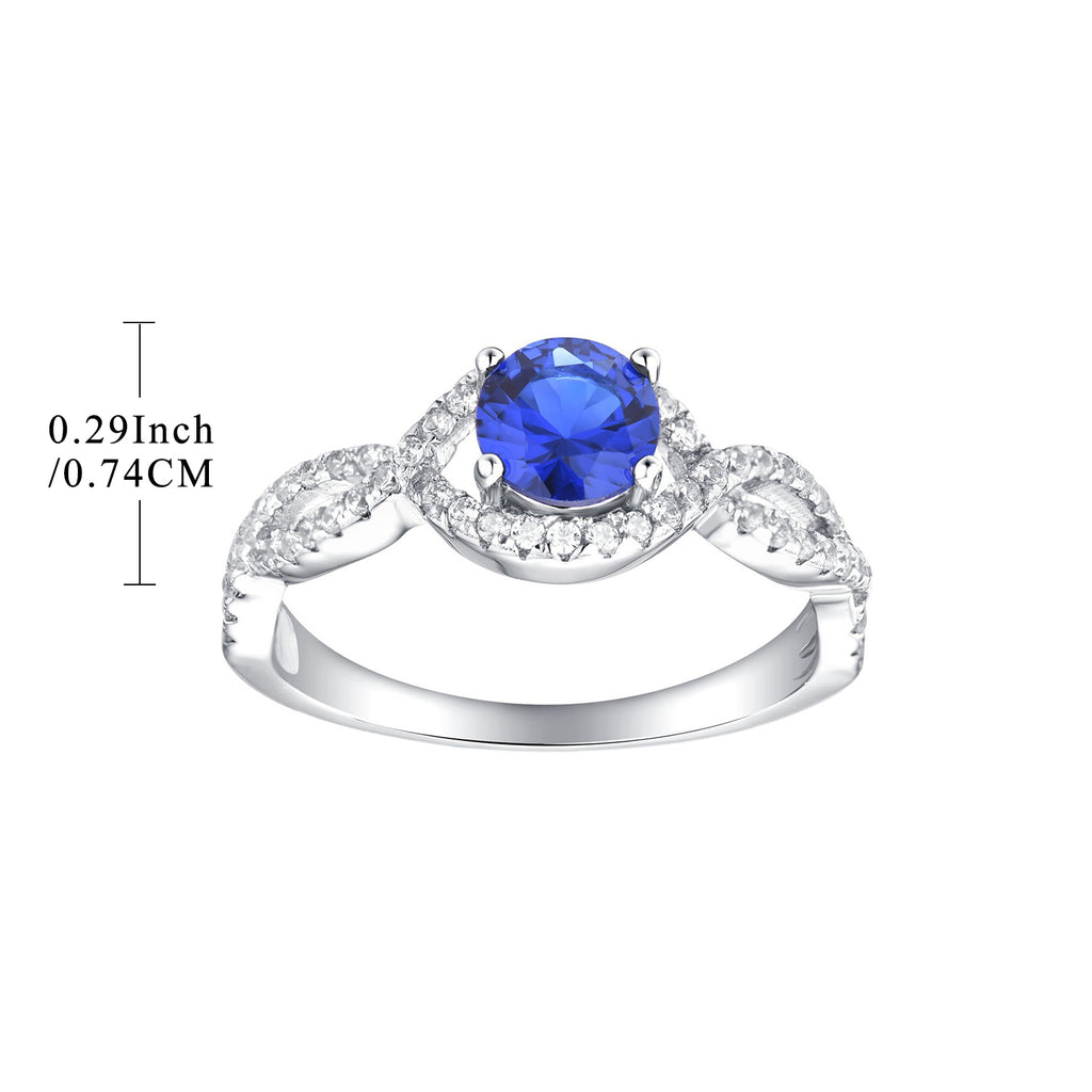 Silver Blue CZ Stones Engagement Ring