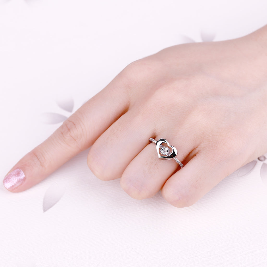 Silver Dancing Topaz Heart Ring