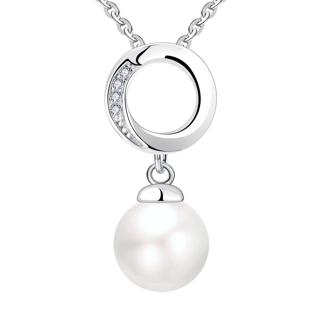 Farjary 8MM Pearl Jewelry Solid 925 Silver Circle Pendant With CZ
