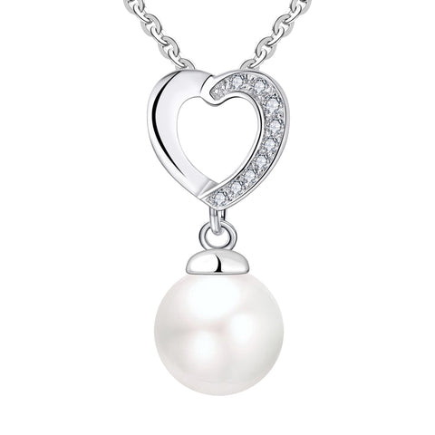 Farjary 8MM Pearl Jewellerey 925 Silver Medium Heart Shape Pendant