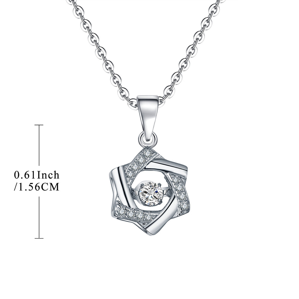 Sterling Silver Hexagram Necklace With Dancing Topaz