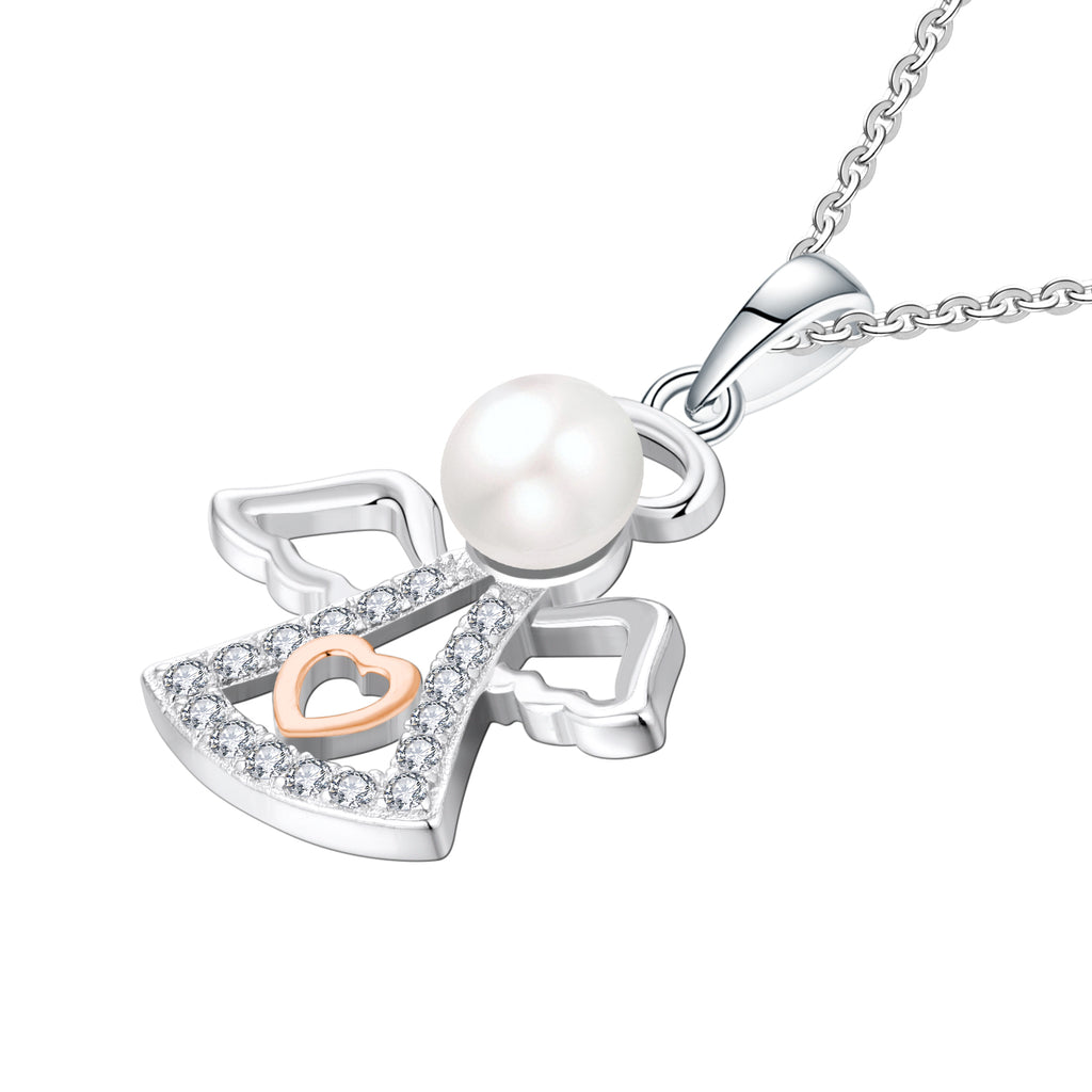 Farjary 925 Sterling Silver 6MM Pearl Guardian Angel Pendant necklace With Rose Gold Heart