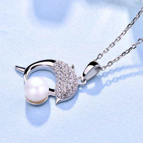 Farjary Pearl Jewelry Solid 925 Silver 7MM Pearl Dolphin Necklace